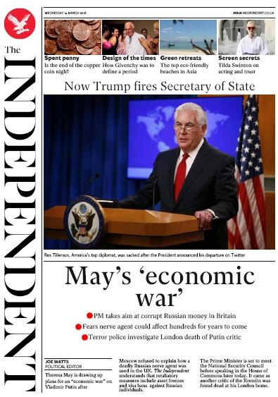 The Independent Newspaper Front Page (UK) for 14 March 2018
