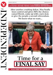 The Independent (UK) Newspaper Front Page for 14 March 2019