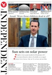 The Independent (UK) Newspaper Front Page for 14 April 2017