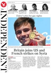 The Independent (UK) Newspaper Front Page for 14 April 2018