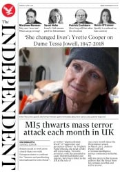 The Independent (UK) Newspaper Front Page for 14 May 2018