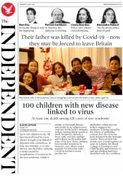 The Independent front page for 14 May 2020
