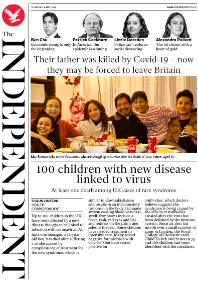 The Independent Newspaper Front Page (UK) for 14 May 2020
