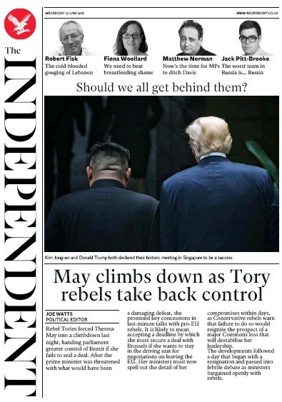 The Independent Newspaper Front Page (UK) for 14 June 2018