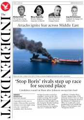 The Independent (UK) Newspaper Front Page for 14 June 2019