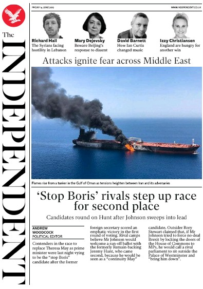The Independent Newspaper Front Page (UK) for 14 June 2019