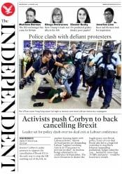 The Independent () Newspaper Front Page for 14 August 2019