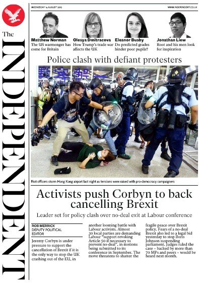 The Independent Newspaper Front Page (UK) for 14 August 2019