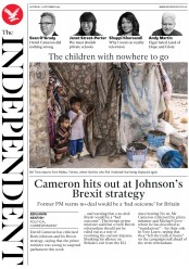 The Independent (UK) Newspaper Front Page for 14 September 2019