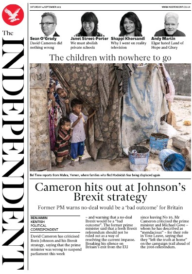 The Independent Newspaper Front Page (UK) for 14 September 2019