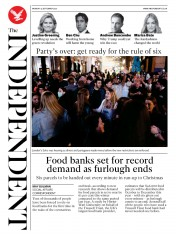 The Independent front page for 14 September 2020