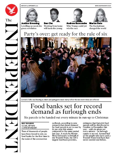 The Independent Newspaper Front Page (UK) for 14 September 2020