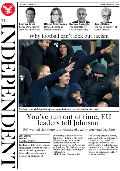 The Independent Newspaper Front Page (UK) for 15 October 2019