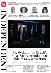 The Independent (UK) Newspaper Front Page for 15 November 2018