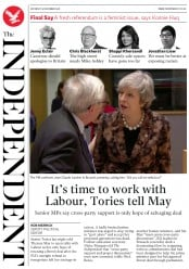 The Independent () Newspaper Front Page for 15 December 2018
