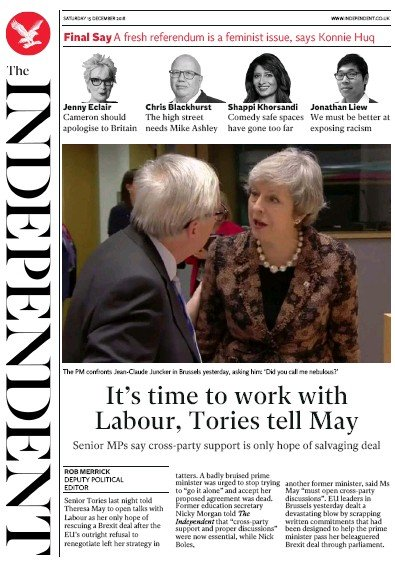The Independent Newspaper Front Page (UK) for 15 December 2018