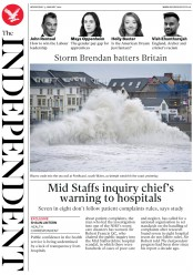The Independent (UK) Newspaper Front Page for 15 January 2020