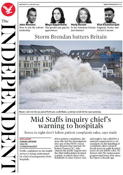 The Independent Newspaper Front Page (UK) for 15 January 2020