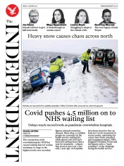 The Independent front page for 15 January 2021