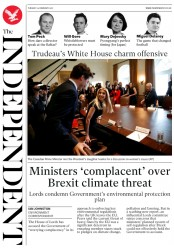 The Independent (UK) Newspaper Front Page for 15 February 2017