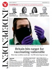 The Independent front page for 15 February 2021