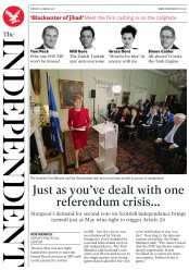 The Independent (UK) Newspaper Front Page for 15 March 2017