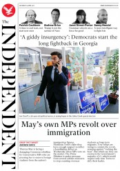 The Independent (UK) Newspaper Front Page for 15 April 2017