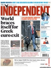 The Independent () Newspaper Front Page for 15 May 2012