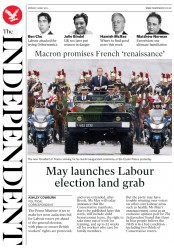 The Independent (UK) Newspaper Front Page for 15 May 2017