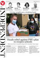 The Independent (UK) Newspaper Front Page for 15 May 2020
