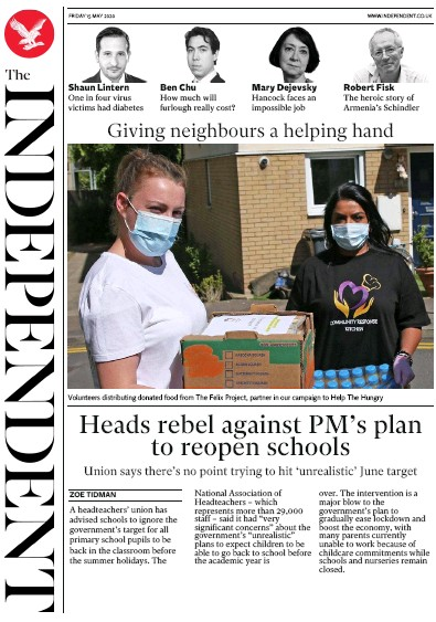 The Independent Newspaper Front Page (UK) for 15 May 2020