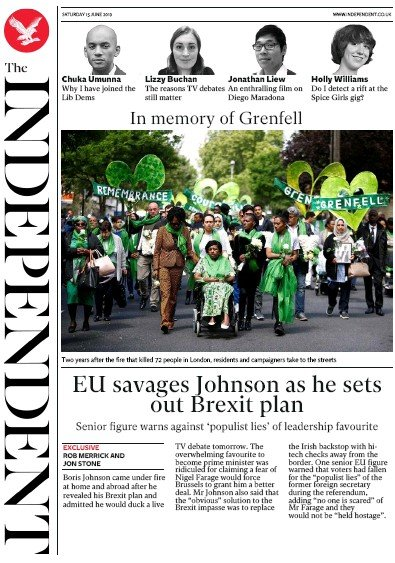 The Independent Newspaper Front Page (UK) for 15 June 2019