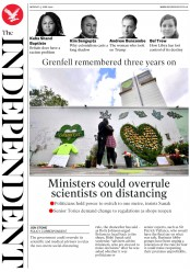The Independent (UK) Newspaper Front Page for 15 June 2020