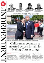 The Independent (UK) Newspaper Front Page for 15 July 2017