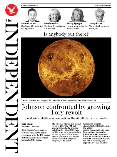 The Independent Newspaper Front Page (UK) for 15 September 2020