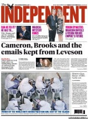 The Independent Newspaper Front Page (UK) for 16 October 2012