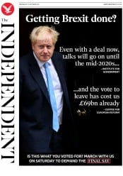 The Independent () Newspaper Front Page for 16 October 2019