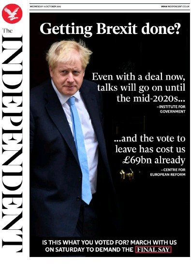 The Independent Newspaper Front Page (UK) for 16 October 2019