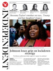 The Independent front page for 16 October 2020