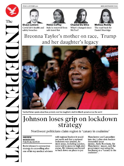 The Independent Newspaper Front Page (UK) for 16 October 2020