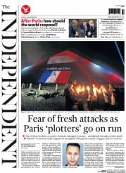 The Independent (UK) Newspaper Front Page for 16 November 2015