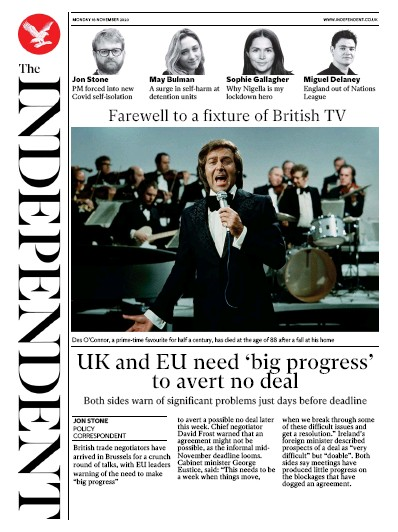 The Independent Newspaper Front Page (UK) for 16 November 2020