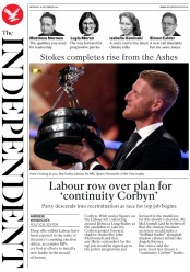 The Independent () Newspaper Front Page for 16 December 2019