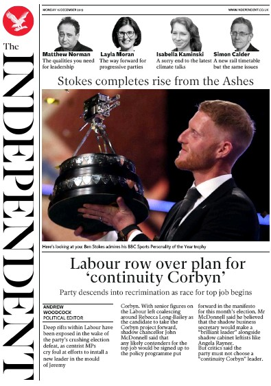 The Independent Newspaper Front Page (UK) for 16 December 2019