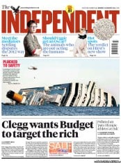 The Independent Newspaper Front Page (UK) for 16 January 2012