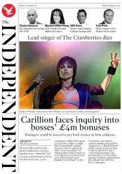 The Independent (UK) Newspaper Front Page for 16 January 2018