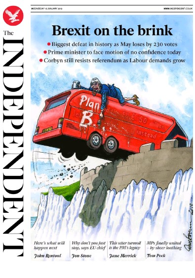 The Independent Newspaper Front Page (UK) for 16 January 2019