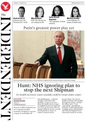 The Independent (UK) Newspaper Front Page for 16 January 2020