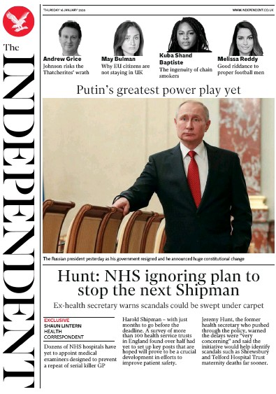 The Independent Newspaper Front Page (UK) for 16 January 2020
