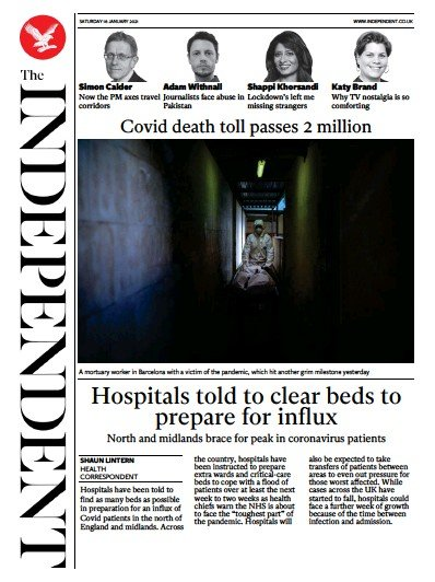 The Independent Newspaper Front Page (UK) for 16 January 2021